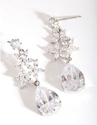 Diamond Simulant Flower Teardrop Earring - link has visual effect only