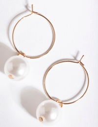 Gold Large Pearl Hoop Earring - link has visual effect only