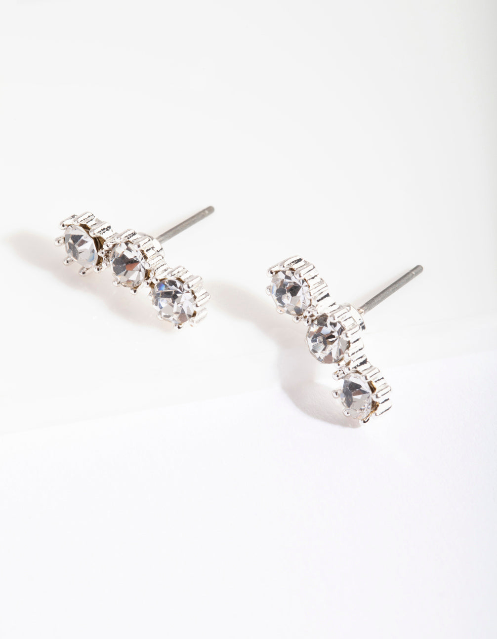 Silver 3 Crystal Crawler Stud Earrings