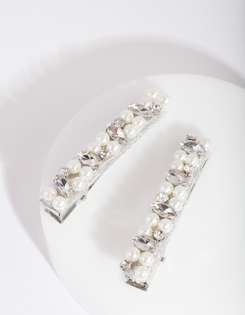 Silver Pearl & Crystal Hair Clip 2 Pack