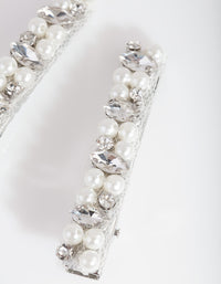 Silver Pearl & Crystal Hair Clip 2 Pack - link has visual effect only