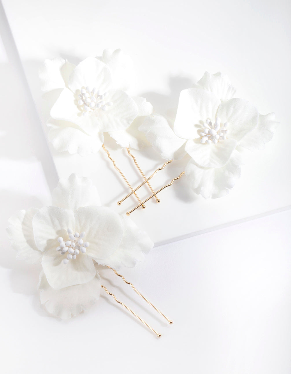White Flower Hair Pin 3 Pack