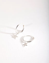 Sterling Silver Plain Star Dangle Hoop Earring - link has visual effect only
