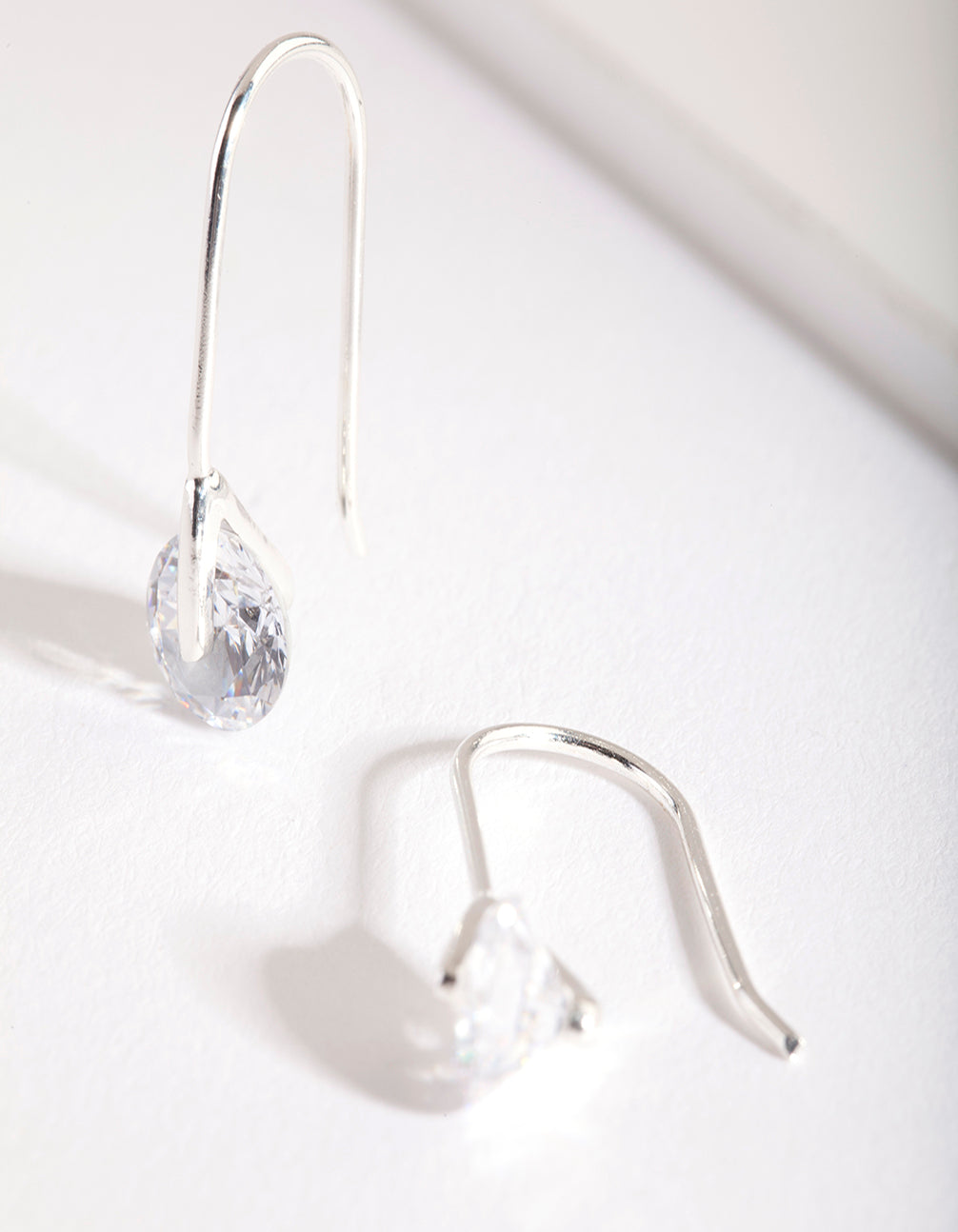 Sterling Silver Cubic Zirconia Sleek Drop Earring