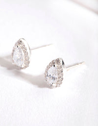 Silver Cubic Zirconia Teardrop Halo Stud Earring - link has visual effect only