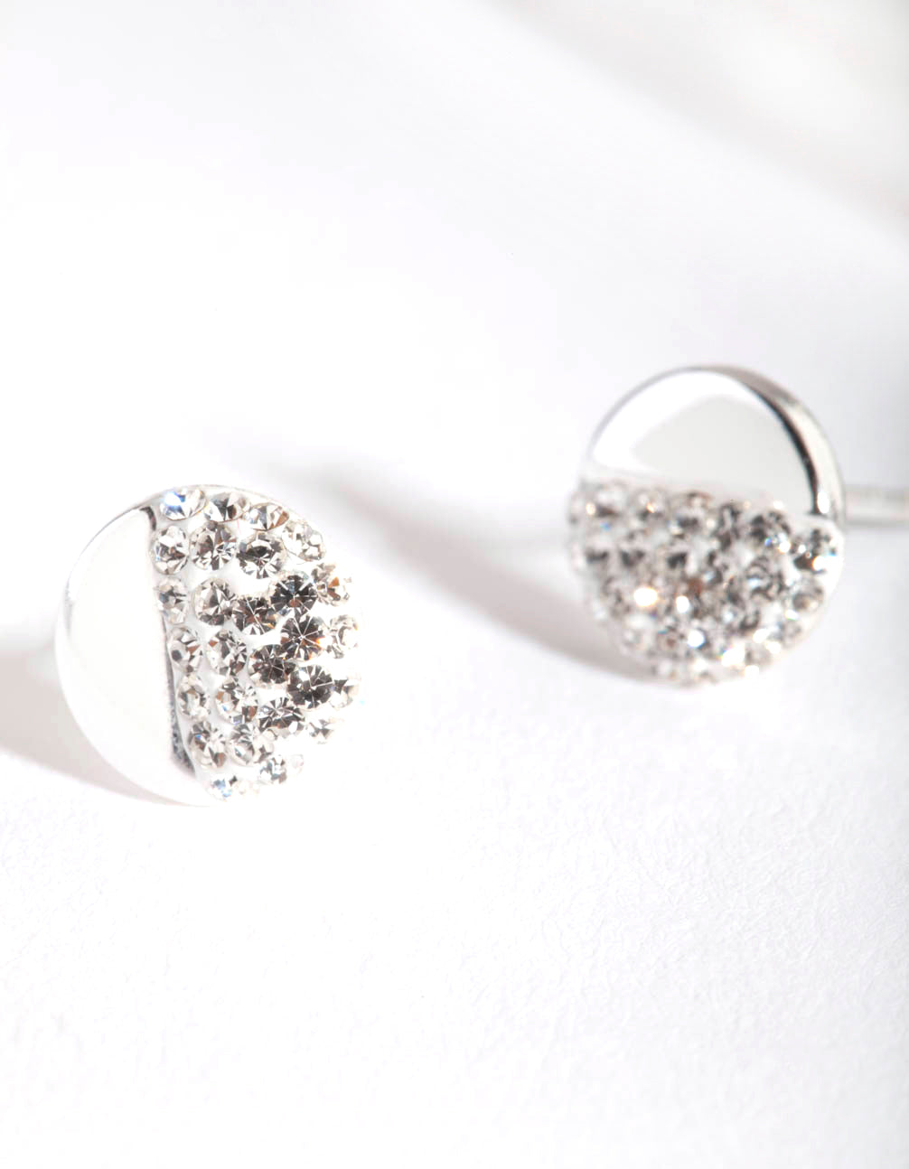 Sterling Silver Half Pave Diamante Stud Earring