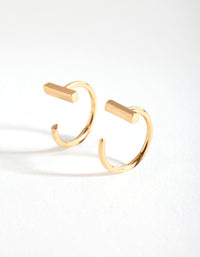 Gold Plated Bar Hook Earring - link has visual effect only
