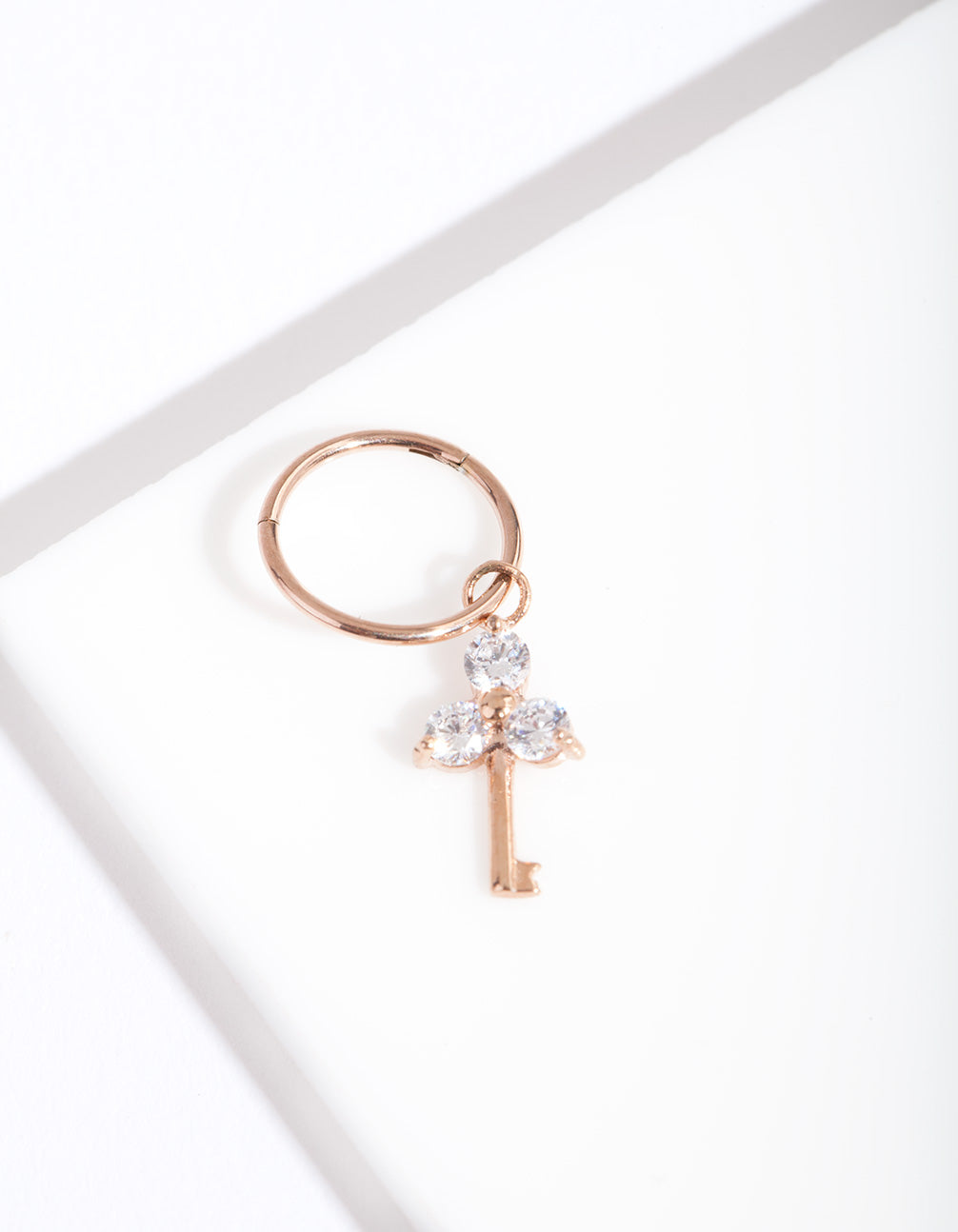 Rose Gold Surgical Steel Cubic Zirconia Key Clicker Earring