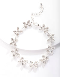 Silver Crystal Silk Flower Bracelet - link has visual effect only