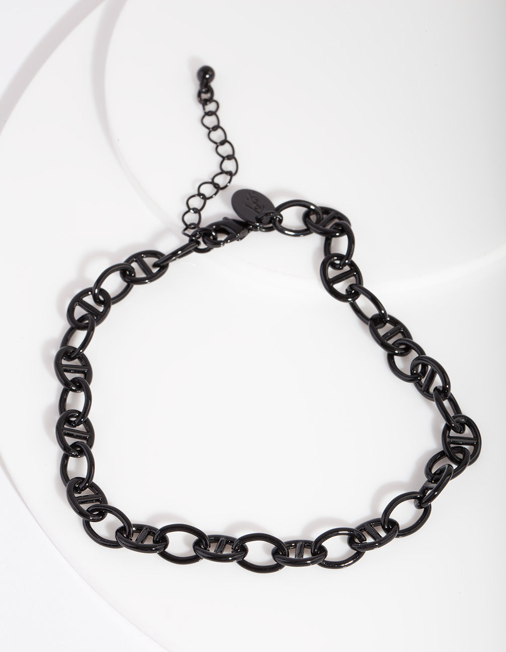 Black Coated Metal Mariner Chain Anklet