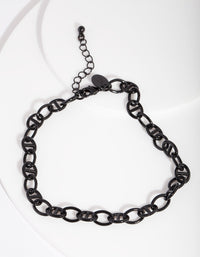 Black Coated Metal Mariner Chain Anklet - link has visual effect only