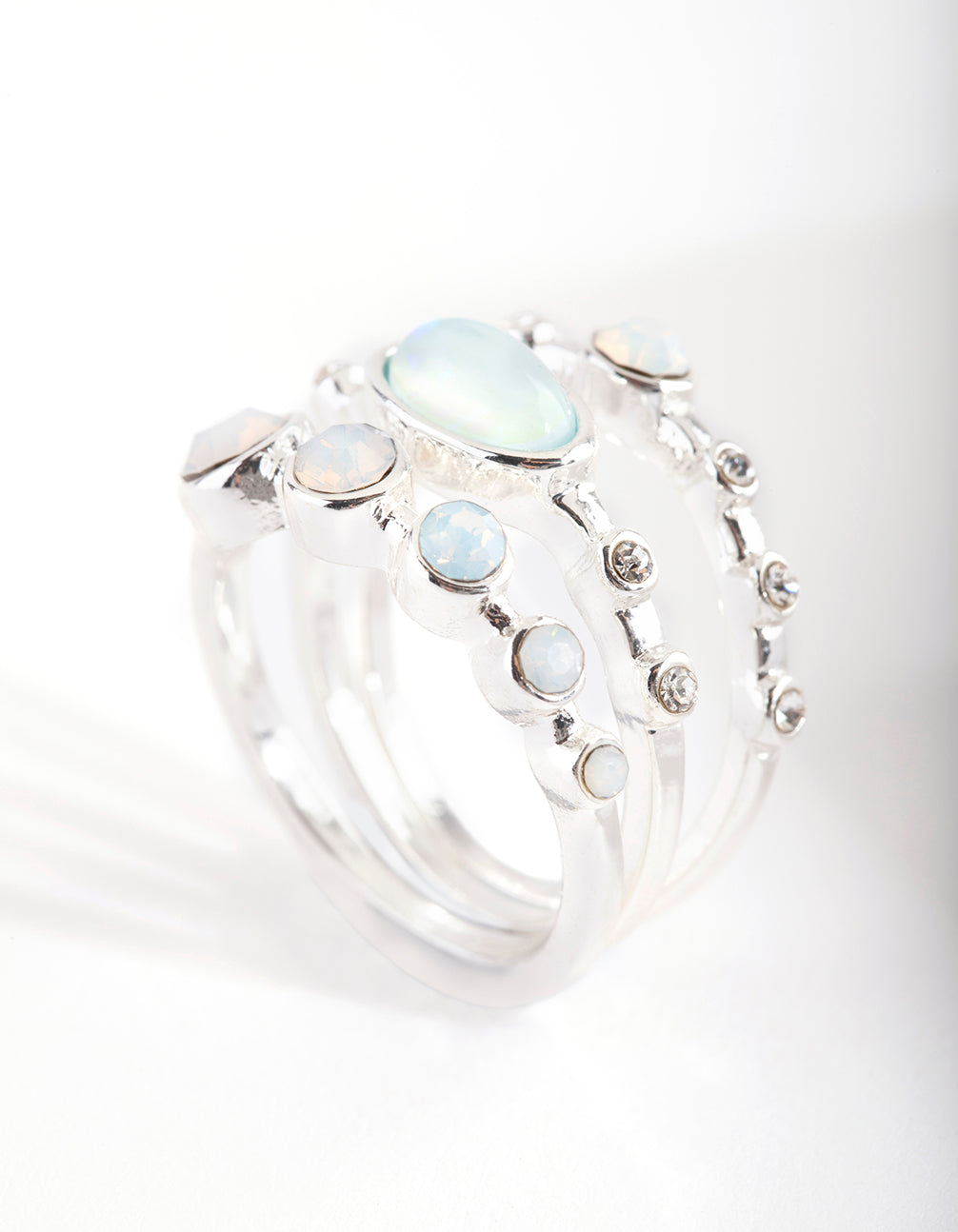 Silver Round Synthetic Opal Ring 3 Pack