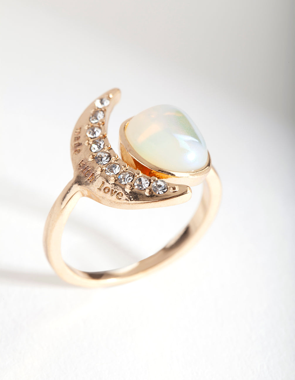 Gold Rainbow Stone & Moon Ring