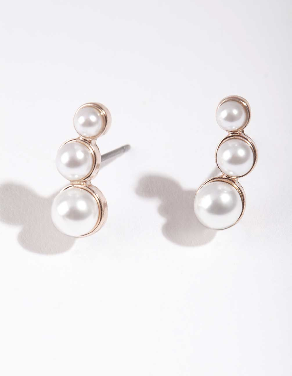 Rose Gold Trio Pearl Stud Earring