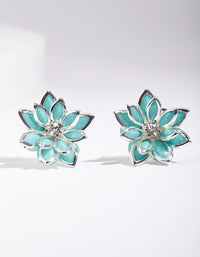 Silver Crystal Flower Earring - link has visual effect only
