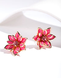 Pink Crystal Flower Earring - link has visual effect only