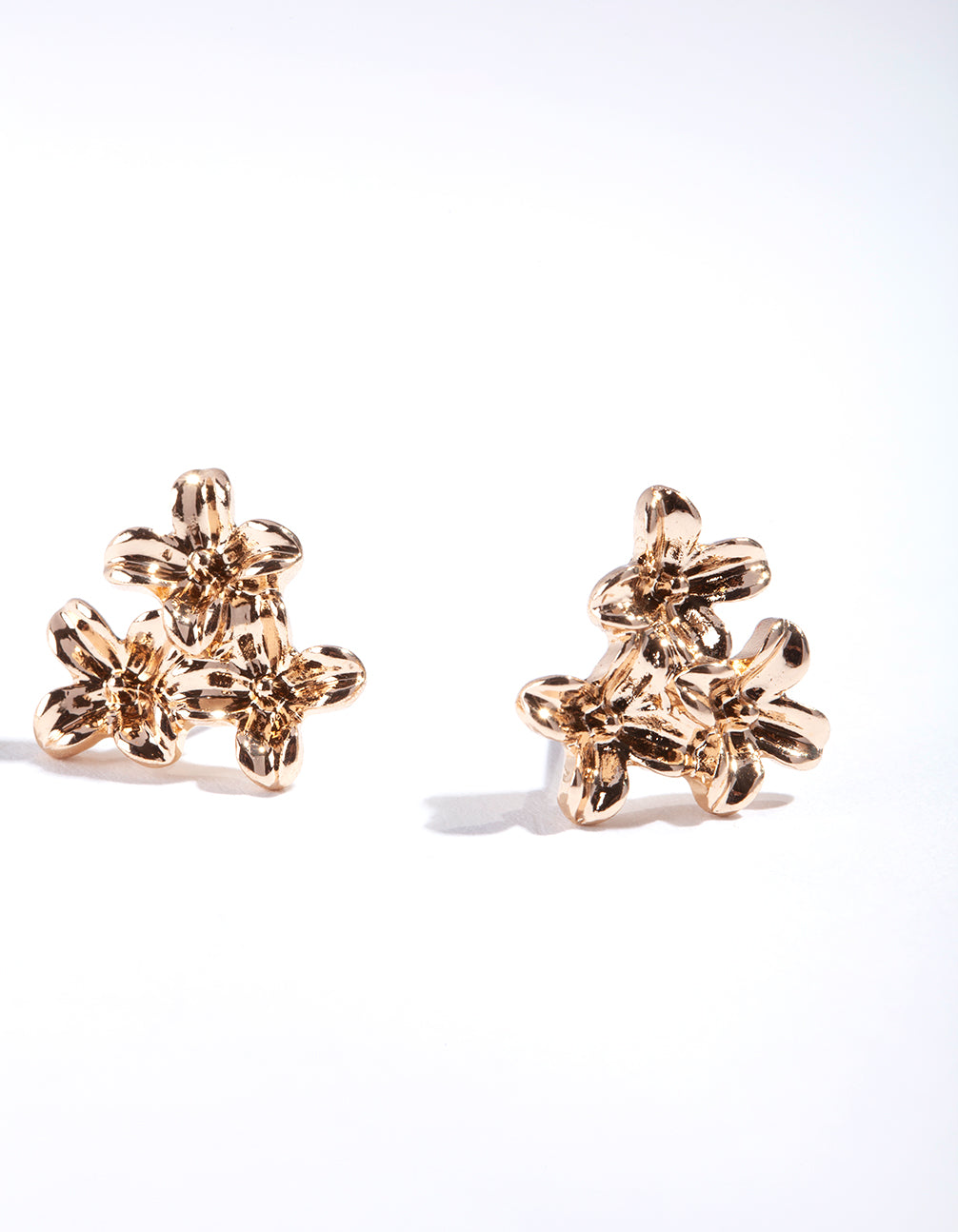 Gold Flower Cluster Stud Earring