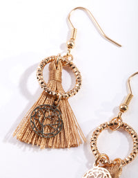 Shiny Gold Textured Circle Tassel Drop Earring - link has visual effect only