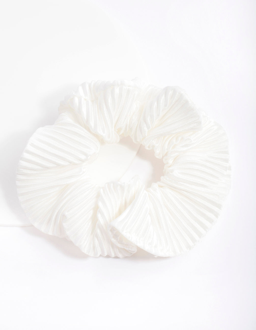 White Pleated Scrunchie