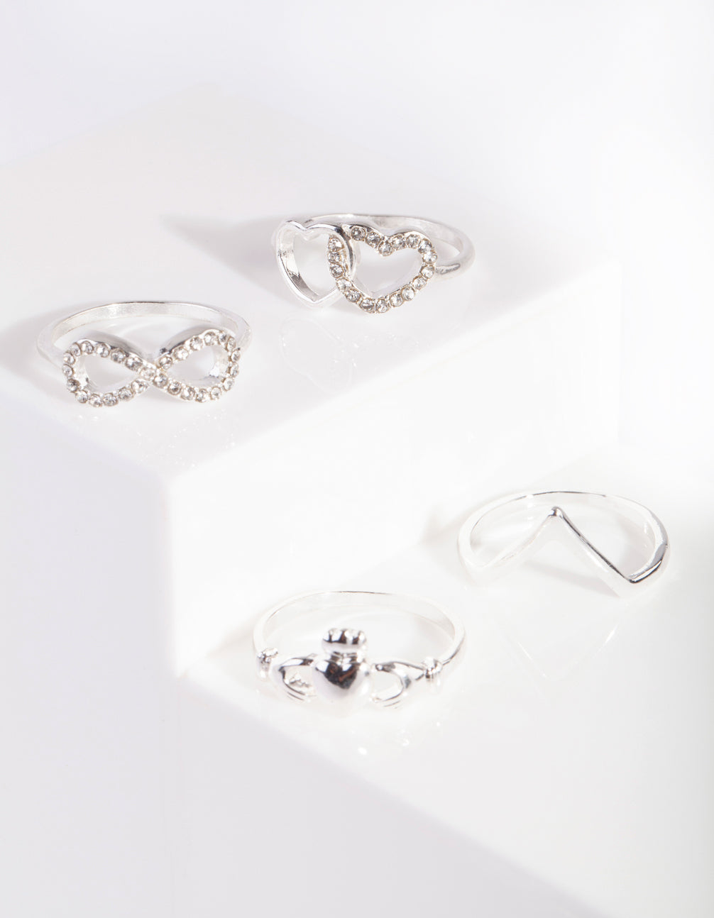 Silver Heart Eternity Ring 4 Pack