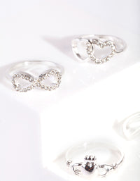 Silver Heart Eternity Ring 4 Pack - link has visual effect only