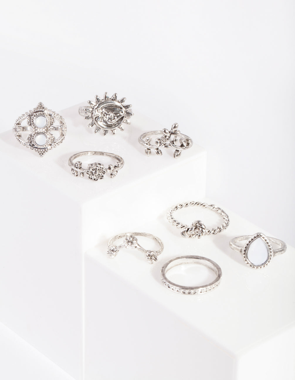 Silver Sun & Moon Ring 8 Pack