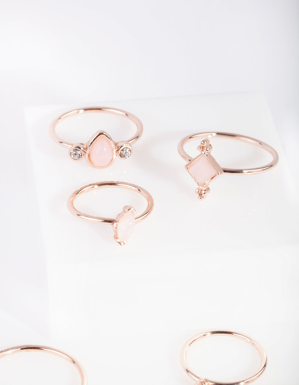 Rose Gold Fine Stone Ring 9 Pack