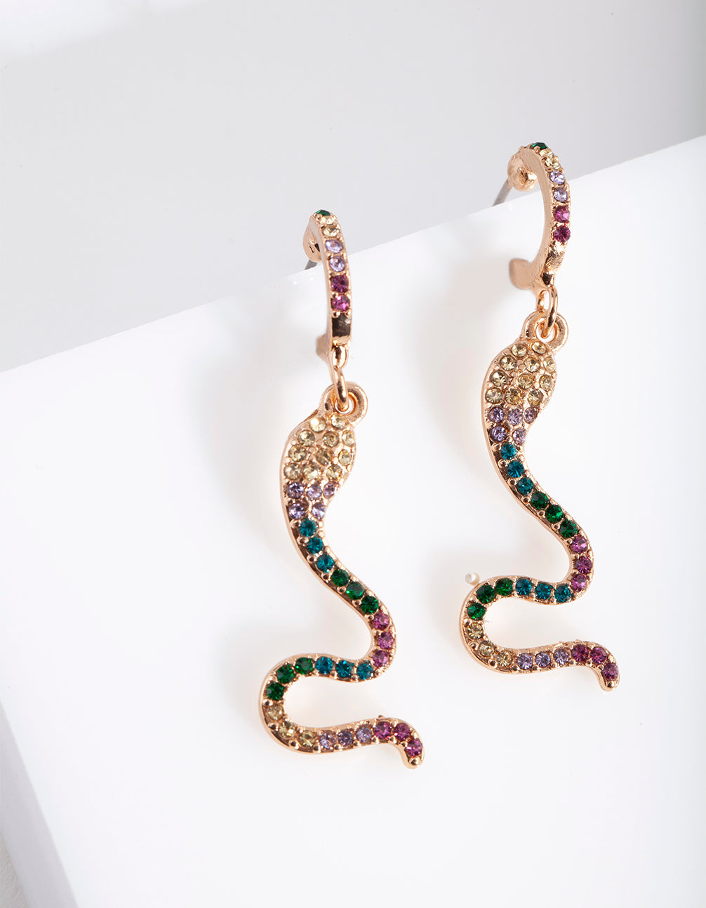 Gold Diamante Snake Huggie Earrings