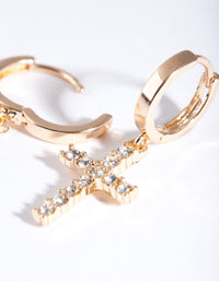 Gold Diamante Cross Huggie Earring - link has visual effect only