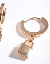 Gold Padlock Huggie Earring - link has visual effect only