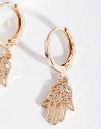 Gold Hands Huggie Earring - link has visual effect only