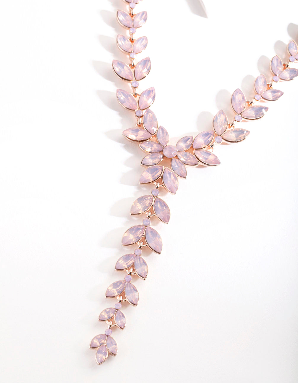 Rose Gold Pink Cascading Navette Necklace