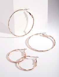 Rose Gold Triple Cut Hoop Earring 2 Pack - link has visual effect only