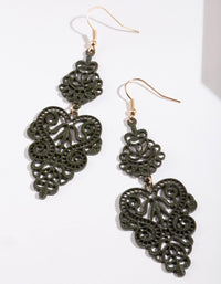 Olive Large Filigree Drop Earring - link has visual effect only