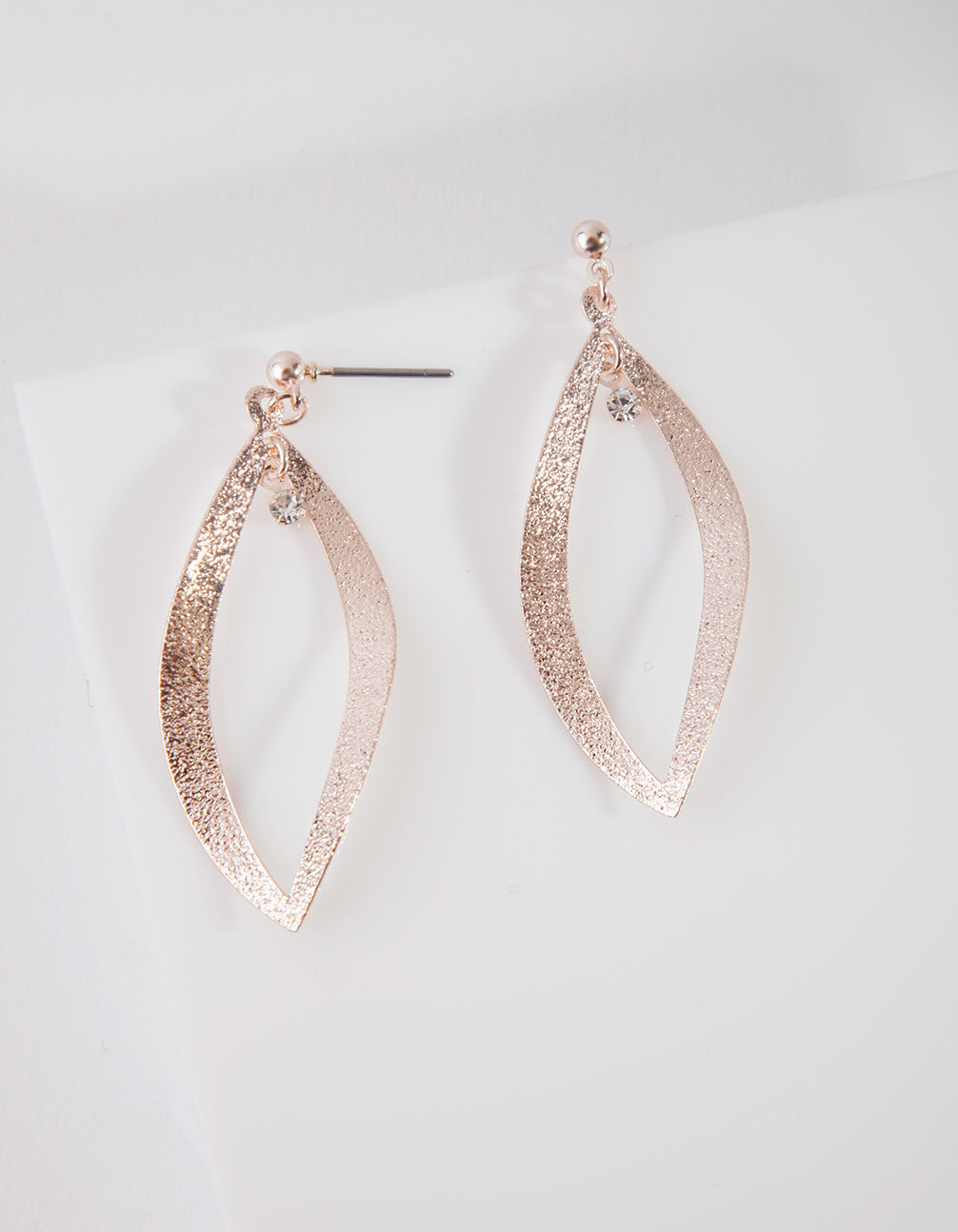 Rose Gold Sandblast Curve Drop Earring