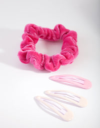 Mix Scrunchie and Clip Hair 4 Pack - link has visual effect only