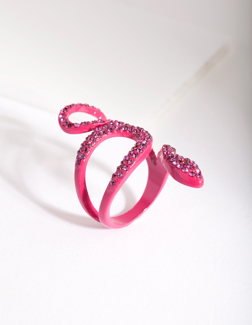 Pink Diamante Swirl Snake Ring