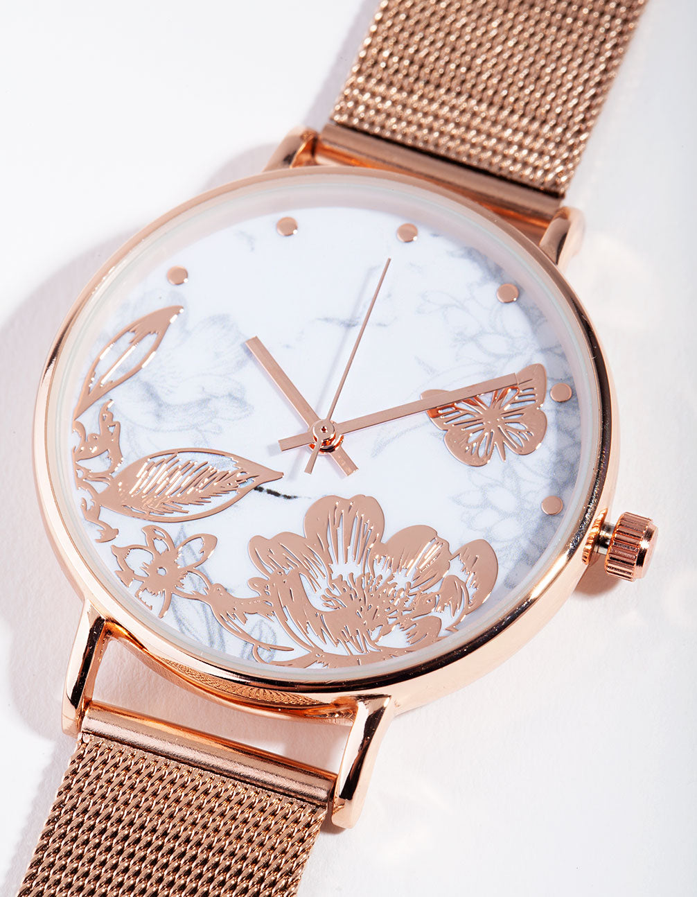 Rose Gold Garden Face Mesh Strap Watch