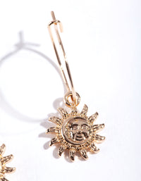 Gold Simple Sun Hoop Earring - link has visual effect only