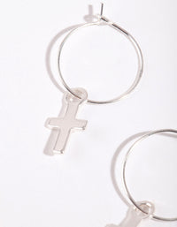 Silver Cross Hoop Earring - link has visual effect only
