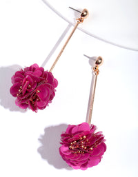 Gold Red Flower Stick Drop Earring - link has visual effect only