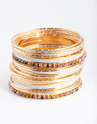 Gold Multi Stone Cupchain & Glitter Bangle 20 Pack - link has visual effect only