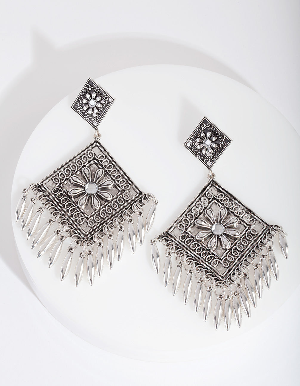Antique Silver Etched Diamond Drop Earring