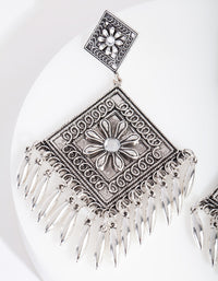 Antique Silver Etched Diamond Drop Earring - link has visual effect only