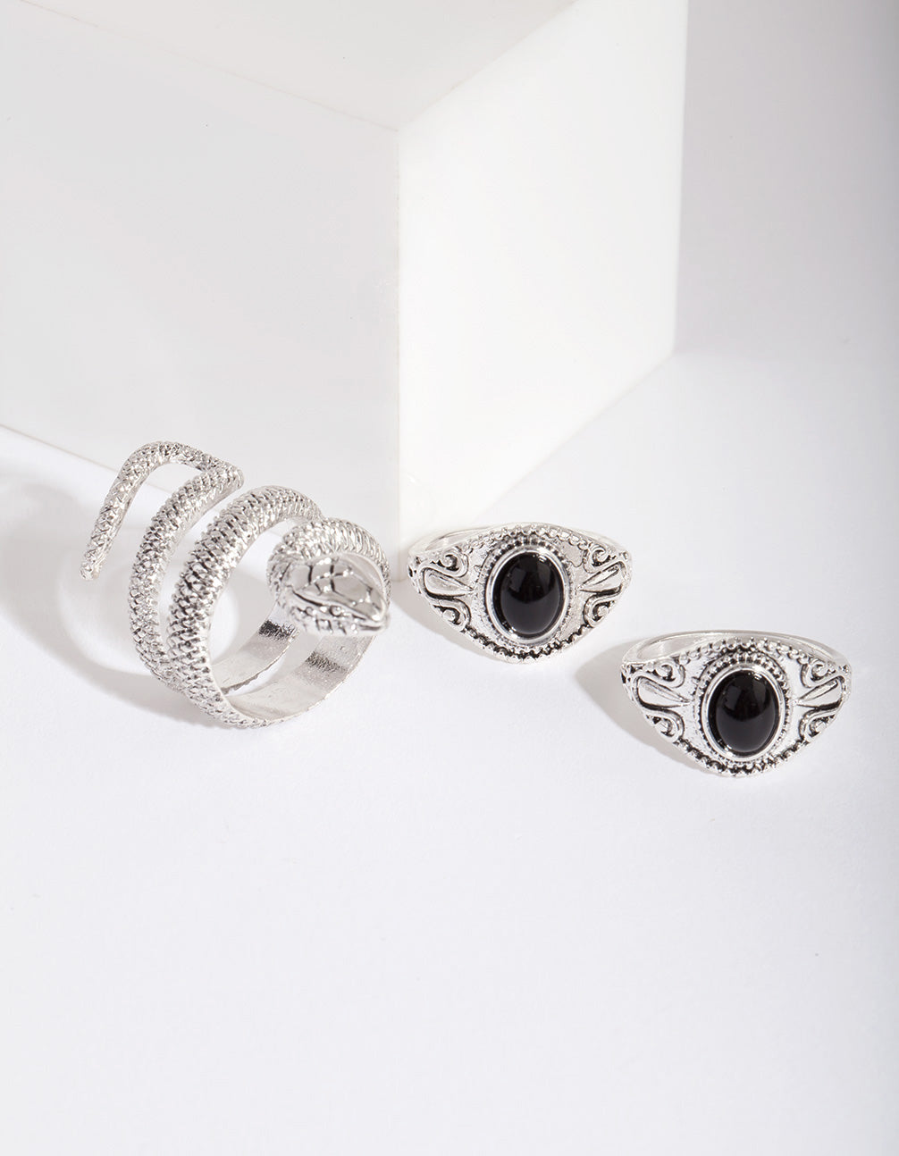 Antique Silver Bohemian Snake Ring 3 Pack