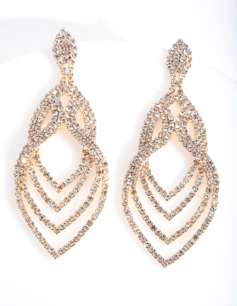 Gold Layered Tiered Drop Earring