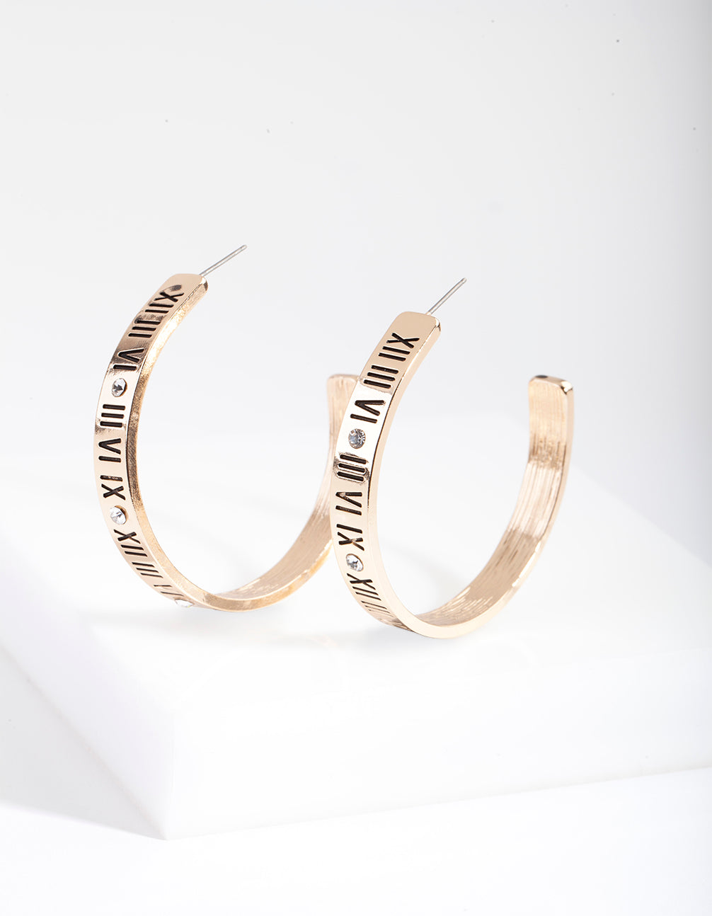 Gold Roman Numeral Hoop Earring