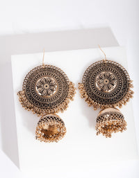 Antique Gold Bell Charm Flower Disc Earrings - link has visual effect only