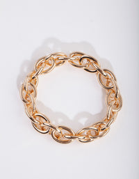 Gold Oval Link Chain Bracelet - link has visual effect only