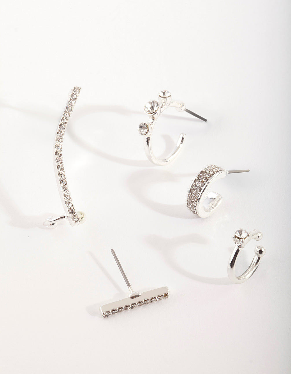 Silver Diamante Cuff & Hoop Earring Stack Pack